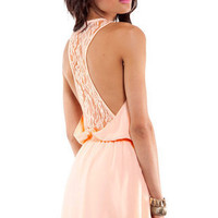 In Between Lace Dress in Peach :: tobi