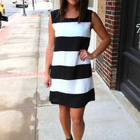 Black + White Studded Color Block {Dress}