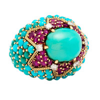 Magnificent Marchak Paris Turquoise and Ruby bombe Ring
