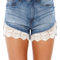 Papaya Clothing Online :: CROCHETED DENIM SHORTS