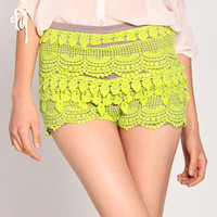Zip Up Crochet Shorts in Lime Green