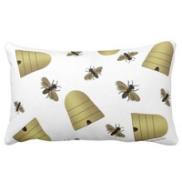 Honeybees & Beehives White Lumbar Pillow