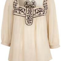 Cream Embroidery Viscose Top - View All - New In - Miss Selfridge