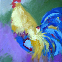 Original Oil Painting Yellow Rooster by honeyscolors on Etsy