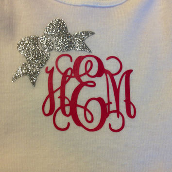 Monogrammed Onesie with a Bow Embellishment - Baby Clothes - Princess - Vine Monogram