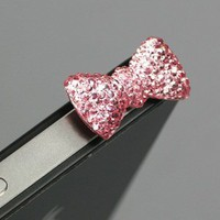Pink / Earphone jack accessory / Bow Dust Plug / Ear Cap / Ear Jack For iPhone / iPad / iPod Touch / 3.5mm (7232-6)