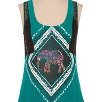 Lace trim embellished elephant graphic tank