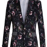 ****Sleek Gentlemen Floral Blazer With Polka Dot Collar