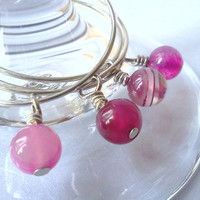 Pink agate wine glass charms  set of 4 by PinkCupcakeJC on Etsy