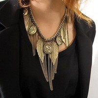 Vintage Leaf&Portrait Tassels Bib Necklace at Online Jewelry Store Gofavor