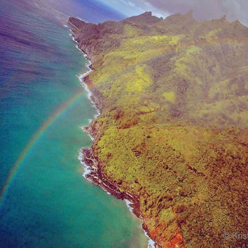 Tropical Nature Landscape Hawaii Photography - Kauai Fine Art Print - Scenic Island View - Beautiful Hawaiian Coast - Rainbow over Ocean