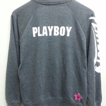 Rare Playboy Sport Grey Hip Hop Grunge Tracktop Jacket Women
