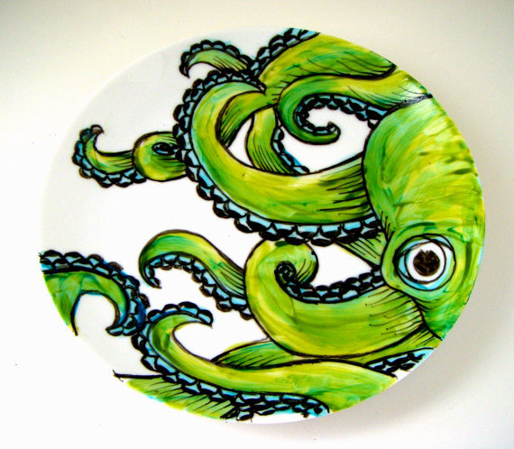 Octopus Ceramic Plate Green Kraken Sea Creature by sewZinski