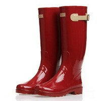 ZLYC Women's Knee High Rain Boots Galoshes