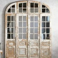 Antique Mirrored Shabby Chateau Doors Arched Transom
