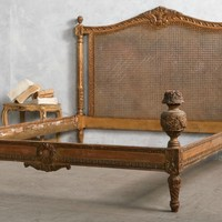 Vintage Shabby Hand Carved Gilt Wood Cane Queen Bed Floral Basket
