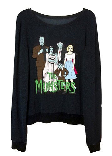 THE MUNSTERS Comic Illustration Printed Loose Fitting Sweater