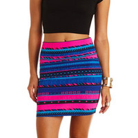 GEOMETRIC TRIBAL PRINT BODYCON MINI SKIRT