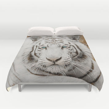 WHITE TIGER GAZE Duvet Cover by Catspaws | Society6