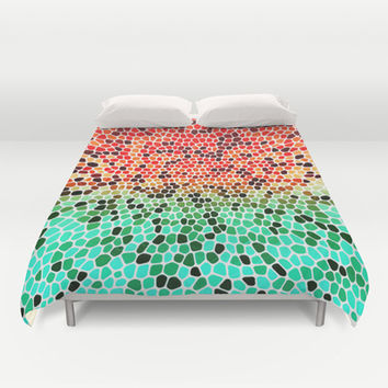 THINK MINTY ORANGE Duvet Cover by Catspaws | Society6