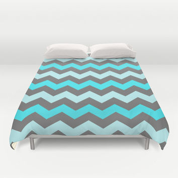 Blue Zigzag Duvet Cover by Ornaart
