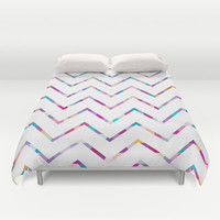 White Zigzag Duvet Cover by Ornaart