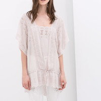 TIE-WAIST EMBROIDERED TUNIC