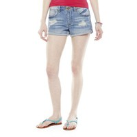 Mudd® High-Waist Cuffed Denim Dolphin-Hem Shortie Shorts - Juniors