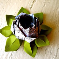 Paper Lotus, Music Sheet And Green, Wedding Decor, Wedding Bouquet, Home Decorations, Event Decorati | Luulla
