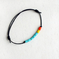 Turquoise Tube Beads Bracelet / Turquoise Beads Anklet (many colors to choose)