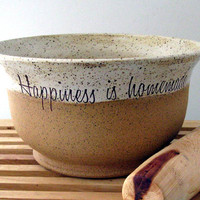 Bare Bottom Bowl - Happiness is Homemade - Hand Made Stoneware Bowl