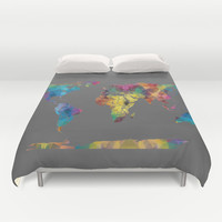 Colorful Geometric Map Duvet Cover by Color and Form | Society6