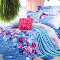DIAIDI Chic Blue Floral Rural Bedding Sets Cotton Striped Print Comforter Sets Queen 4Pcs