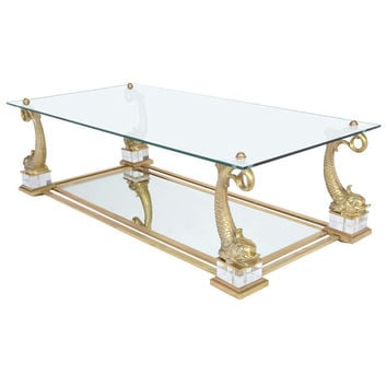 Vintage Maison Charles Brass Dolphins Coffee Table