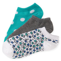 3-Pack Floral Dot Ped Socks