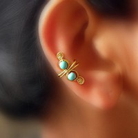 Brass Swirl Ear Cuff by catchalljewelry on Etsy