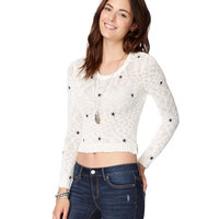 Sheer Stars Cropped Sweater