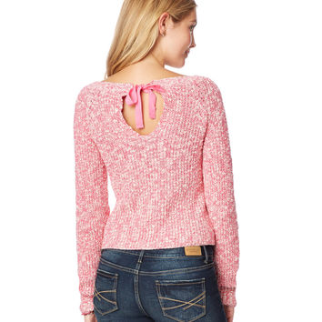 Ribbon Keyhole-Back Sweater