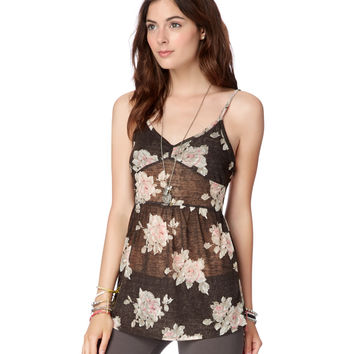 Sheer Floral Tie-Back Tunic