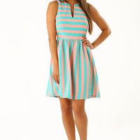 EVERLY: The Katlyn Dress: Turquoise/ Bubblegum Pink