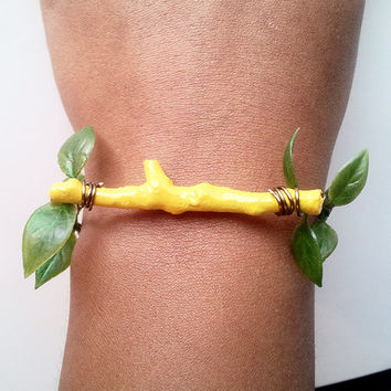 Lemon Yellow Twig Bracelet, Natural Stick Bracelet, Nature Inspired, Yellow, Canary, Lemon, Amarillo, Painted Twig Bangle, Green, Summer