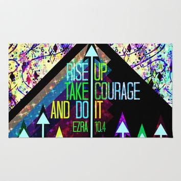 RISE UP TAKE COURAGE AND DO IT Colorful Geometric Floral Abstract Painting Christian Bible Scripture Area & Throw Rug by The Faithful Canvas