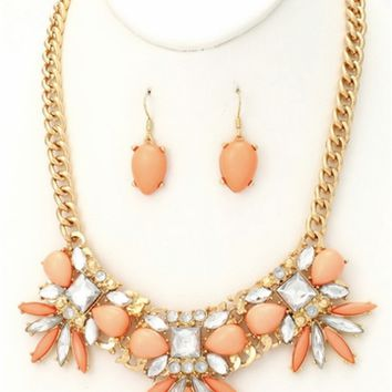 Coral Jewel & Rhinestone Necklace