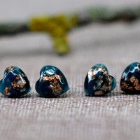 Deep Teal Stud Earrings With Copper Flakes - Teal Resin Earrings - Copper Flakes Resin Post Earrings