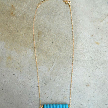 Single Row Turquoise Necklace [5879] - $11.00 : Vintage Inspired Clothing & Affordable Dresses, deloom | Modern. Vintage. Crafted.