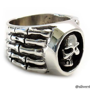 Skull Silver Ring with skeleton hands | King of Skulls | Sterling Silver Rings | Men Rings | Heavy silver ring | Handmade on demand | 0189
