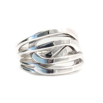 Silver ring | Extraordinary | Handmade sterling silver jewelry | Mexico Art | Sterling Silver Rings Shop | Four wire ring | Crossed | 0205