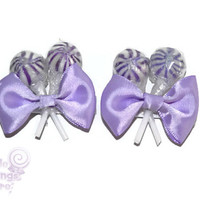 Purple Lollipop  Hair Clips x 2, Flower Girl Accessory, Candy Hair Clip, Wedding, Bridesmaid Accessory, Sweet Sixteen, Purple, Lollipop