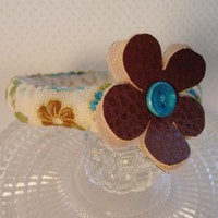 Fabric Bangle Bracelet Flower Tan Brown Blue Bohemian Fun Jewelry