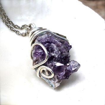 Natural Amethyst Necklace - Druzy Geode Jewelry - Amethyst Crystal Boho Jewelry - Boho Gypsy Necklace - Natural Stone Jewelry from Hawaii